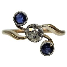 Antique Edwardian Diamond and sapphire 18ct gold ring