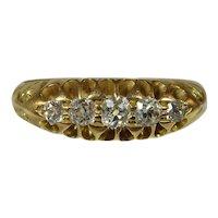 Antique Victorian 18 ct yellow gold 5 stone diamond ring