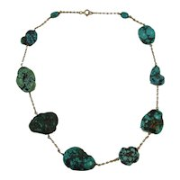 Antique Arts and Crafts Matrix Turquoise and 9ct rose gold necklace