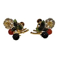 Vintage mid-century 18ct gold, diamond, black jade, red jade and nephrite carved earrings