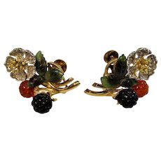 Vintage mid-century 18ct gold, diamond, black jade, red jade and nephrite carved earrings