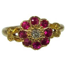 Antique Victorian 18ct diamond and ruby ring