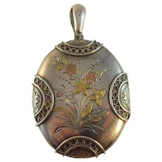 Antique Victorian Aesthetic movement Silver and gold Applique locket