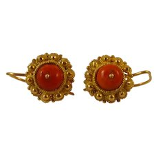 Antique Victorian 18ct gold coral earrings