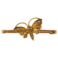 Antique Edwardian 15ct seed pearl Butterfly brooch