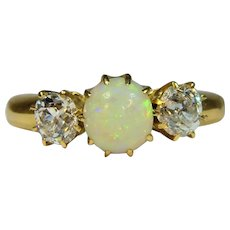 Antiques Edwardian 18 ct gold Opal and Diamond ring