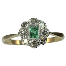 Art Deco 18ct and platinum Emerald and Diamond ring