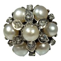Vintage mid century Mediterranean cultured pearl and paste silver ring