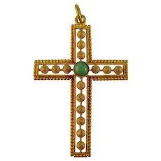 Vintage mid century 18ct gold and turquoise Sardinian corbula cross