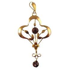 Art Nouveau Edwardian Amethyst paste gold pendant