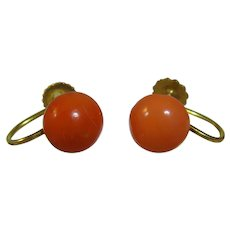 Antique Edwardian 9ct gold Coral stud earrings