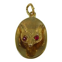 Vintage 9ct gold Fox pendant/charm with red spinel eyes