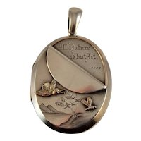 Antique Victorian Aesthetic movement silver and gold locket