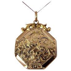 Antique Edwardian 9ct gold engraved double sided locket
