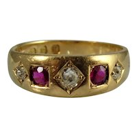 Antique Victorian 18ct yellow gold Diamond and Ruby gypsy set ring