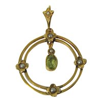 Antique Edwardian gold peridot and pearl pendant