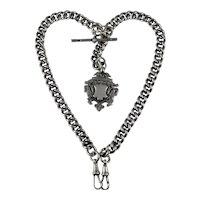 Antique Edwardian silver Albert watch chain / Necklace