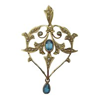 Antique Edwardian Blue Zircon and seed Pearl pendant