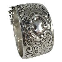 Antique Victorian  silver repoussé bangle