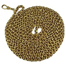 Antique Victorian rolled yellow gold guard chain