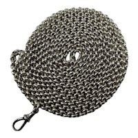 Antique Edwardian heavy silver long guard / muff chain