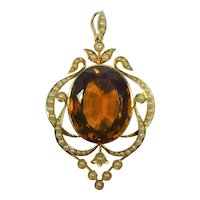 Antique Victorian solid 15ct gold large Madeira Citrine and pearl pendant