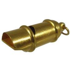 Antique Edwardian 18ct gold Train Whistle charm / pendant