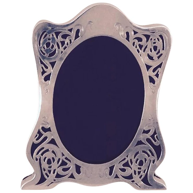 Antique Art Nouveau Sterling Silver Picture Frame Unique Form And