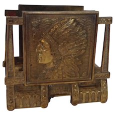 Judd Native American Indian Brass Plated Iron Letter Holder, Rack
