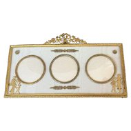 French Brass & Moire Picture Frame with Brass Appliques, 3 Pictures