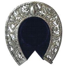 Horseshoe Shape Pocket Watch Holder Stand, Nickel Plated Brass