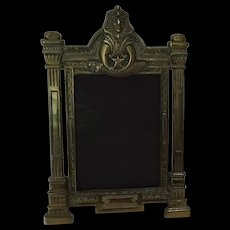 Shriners Brass Plated Iron Picture Frame, Egyptian Revival Art Deco
