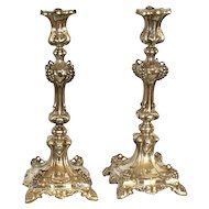 Pr. of Norblin Silverplate Polish Sabbath Candlesticks, Judaica