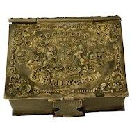 English Brass Pen Nib Box & Match Holder, Figural Book