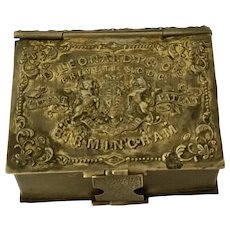 English Brass Pen Nib Box & Match Holder, Figural Book