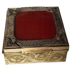 Art Nouveau French Deco Brass Box, Leather, Jewels