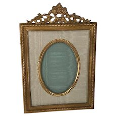 French Brass and Moire Picture Frame with Floral and Bow Heading