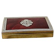 Austria Red and White Enamel and Brass Cigarette Case/ Box, Art Deco Design