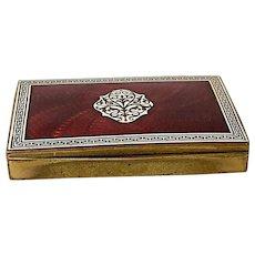 Austria Red and White Enamel and Brass Cigarette Case/ Box, Art Deco Design