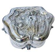 Derby Silverplate Box, Unique Shape, Art Nouveau Woman