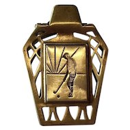 Figural Art Deco Golfer in Knickers Brass Money Clip, Holder