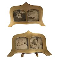 Pr. of Art Deco Miniature Brass Picture Frames