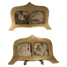 Pr. of Art Deco Miniature Brass Picture Frames