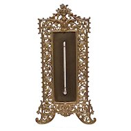"Brass Ornate 11"" Standing Thermometer ca. 1900"
