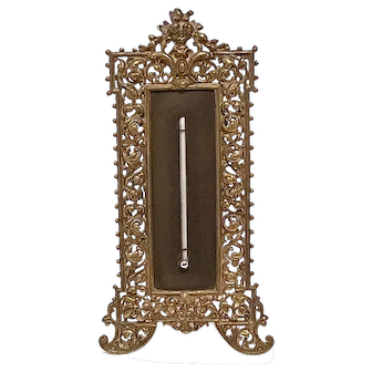 """Brass Ornate 11"""" Standing Thermometer ca. 1900"""