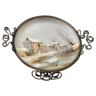 Scenic Bristol Glass Dish, Brass Art Nouveau Stand