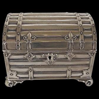 Silverplate Stylized Dome Trunk Box