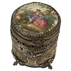 Pierced Brass Vertical Box, Cupid's, Bows, Porcelain Top