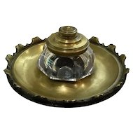 Brass and Glass Art Deco Inkwell
