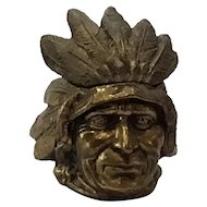 Native American Figural Head Metal Inkwell